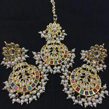 Beautiful Indian Style Pearl Kundan   Earrings + Mangtika Set