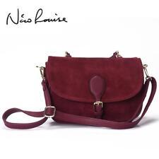 Women Suede Split Leather Shoulder Bag Fashion Saddle Handbag Casual Bag Handbag