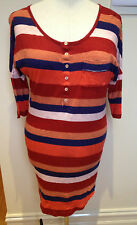 COUNTRY ROAD Block Coloured Stripe Long Length Henley Style Cotton Dress  S