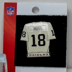 NFL Oakland Raiders White Jersey Randy Moss Pin Enamel Lapel NOS