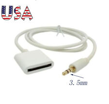 AUX 3.5mm Male jack to 30pin Female for iPhone4 4s iPod Dock Adapter Cable White