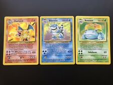 Pokemon Card Base Set Complete Charizard Venasuar & Blastoise LP-NM