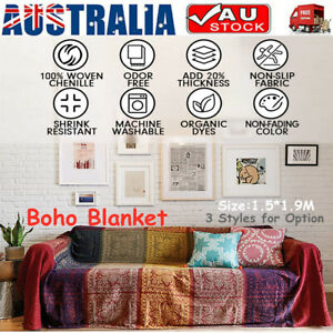 Retro Bohemian Boho Throw Rug Couch Lounge Sofa Chair Bed Knitted Blanket Home