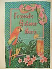 """""""Friends Gather Here"""" Tropical Parrot, Flip Flops, Long Island Tea, Garden flag"""