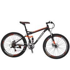 "S7 Full Suspension Mountain Bike 21 Speed Mens Bicycle 27.5"" MTB Disc Brakes L"