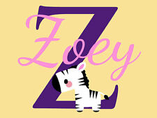 "Personalized Baby Zebra Name Monogram Vinyl Wall Decal Home Decor 22"" Tall"