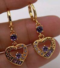 Lovely gold filled heart shape purple cubic zirconia dangle earrings