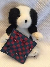 Boyds Bears Plush Checkers Fabric Patriotic Americana Dog 904593 Black White Dog