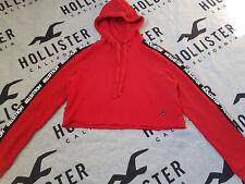 New Women's HOLLISTER Logo Ultra Crop Hoodie Size M Red
