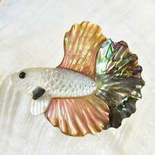 Siamese Fighting Fish Iridescent Multicolor Shell Carving 2.96 g Top-drilled