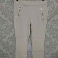 Zara Woman Slim Fit Pull On Stretch Pants Size Medium Medium Rise Off White