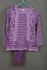 P250/L17 Naartjie kids Pink/Purple Cotton Tunic Top and Leggings Set, age 7