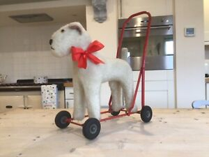 Vintage Antique Dog on wheels, fox terrier toy dog,baby Walker,1950s lines toy