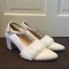 Esperanza white linen block heels fur kawaii lolita shoes us7 eu38 made in Japan