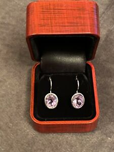 New 18ct White Gold And Amethyst Earrings