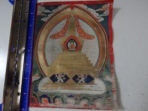 ANTIQUE  MONGOLIAN BUDDHIST THANGKA  PAINTING OF A  STUPA