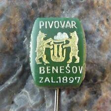 Antique Benesov Pivovar 1897 Czechoslovakia Brewery Beer Lager Bears Pin Badge