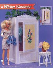 Wicker Wardrobe ~ fits Barbie dolls, Annie's plastic canvas pattern leaflet NEW