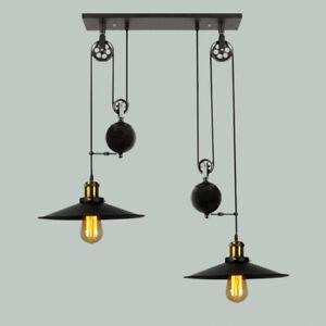 Retro Chandelier Kitchen Black Pendant Lighting Shop LED Ceiling Lights Bar Lamp