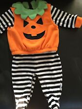 First Moments Little Pumpkin Sz 6-9 Boys Girls Halloween Striped Costume