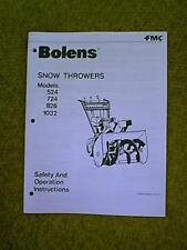 BOLENS SNOWBLOWER MODELS 524 724 826 1032 OWNERS MANUAL DATED 5-78