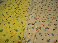 "VTG Cotton Waffle Pique? Fabric 2 PIECES OF PINK&YELLOW FLORAL-64""X36""&46""X85"""