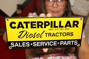 Caterpillar Diesel Tractors Bulldozer Sales Service Gas Oil Porcelain Metal Sign