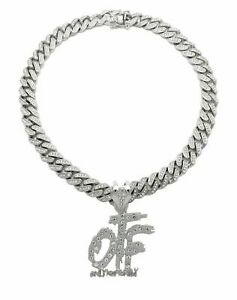 """Only The Family OTF & 18"""" Full Iced Cuban Link Choker Chain Hip Hop Necklace"""