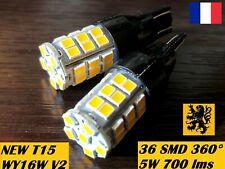 2 x T15 W16W WY16W LED HP 700lm 36SMD JAUNE ORANGE 2000k 12V 4W PEUGEOT 3008 SUV
