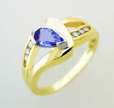 14KT YELLOW GOLD AWESOME! LADIES TANZANITE AND DIAMOND RING (10764R)