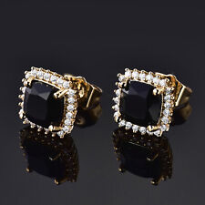 Gothic Cushion Black Crystal Onyx 24K Gold Filled Women Golden Stud Earrings BOX