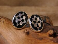 Vintage Sterling Silver Inlay Shell, Abalone and Jet Cuff Links