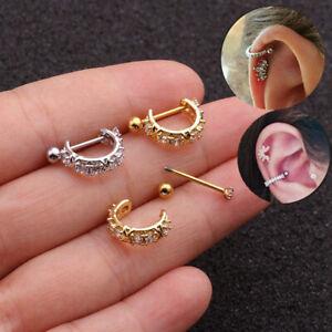 Stainless Steel Barbell With Cz Hoop Cartilage Earring Lobe Piercing Jewelry UK