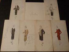 EXCEPTIONNEL 6 DESSINS ORIGINAUX COULEURS MODE HAUTE COUTURE 1920 Maison MILLER