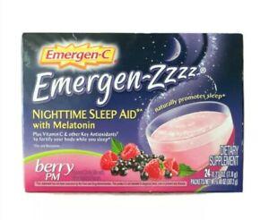 Emergen-C Zzzz Nighttime Berry PM Sleep Aid 24 count packs packets box 2/2022