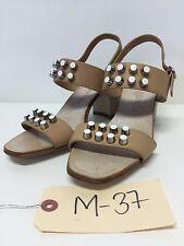 M37 NEW Pedro Garcia Xanet Studded Almond Leather Block Heel Sandal Sz 36.5