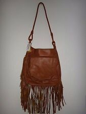 BILLABONG Remember Mi Womens Fringe Shoulder Bag Cross-body Saddle Brown Leather