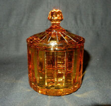 Heisey Coarse Rib Mustard and Cover, Amber Stained, Marked, Perfect Condition