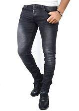 Pantalones vaqueros de hombre Slim Fit Stonewashed Negro Lavado usado mal estado