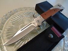 "AK Folding Combat Bowie Bayonet Hunter Huge Pocket Knife w Sheath 10 3/4"" Op New"