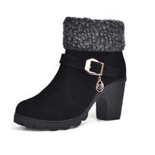 Damen Biker Boots Blockabsatz Ankle Stiefel Stiefeletten Pumps Winter Schuhe