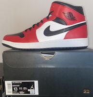 Nike Air Jordan 1 Mid Chicago Black Toe 554724-069 Size 13