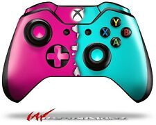 Ripped Colors Hot Pink Neon Teal Skin for XBOX One Controller