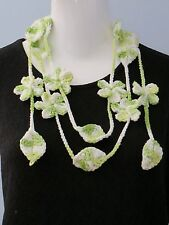 New Handmade Crochet Green Forget Me Not Flower Leaves Scarf Necklace Lariat