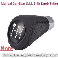5 Speed Leather Black Universal Manual Car Gear Stick Shift Knob Shifter Black