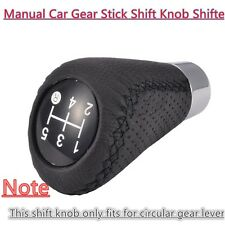 5 Speed Leather Black Universal Manual Car Gear Stick Shift Knob Shifter Black