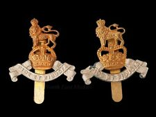 Two Royal Army Pay Corps Cap Badges king's and queen's crowns types.