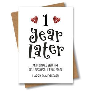 1st Year Anniversary Card Husband Wife Boyfriend Girlfriend Engagement Fiancé 1