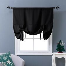 Nicetown Thermal Insulated Blackout Curtain in Black - Tie Up Shade for Small...