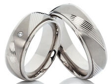 2 Titanium Rings Wedding Engagement with Diamond & Laser Engraved